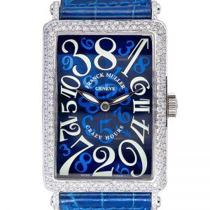 Custom Diamond Set Franck Muller 1200 CH Long Island Crazy Hours White Gold Watch