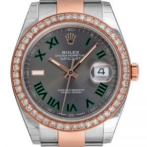 Rolex DateJust 41 Steel and Rose Gold Slate Dial Custom Bezel 126301