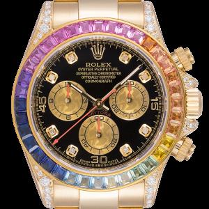 Rolex Daytona 18ct Yellow Gold Diamond Set with Custom Rainbow Bezel 116528