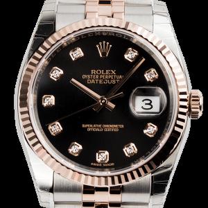 Rolex DateJust 36 Steel and Everose Gold Black/Diamonds Jubilee 116231