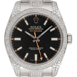Custom Diamond Set Rolex Milgauss with Black Dial 116400