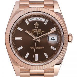 Rolex Day-Date 40 18ct Everose Gold Chocolate/Diamond Watch 228235