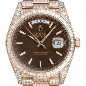 Custom Diamond Set Rolex Day-Date 40 Rose Gold Chocolate Dial 228235