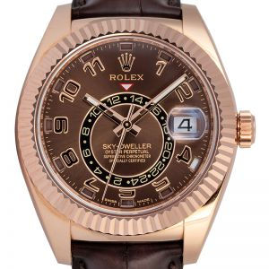 Rolex Sky-Dweller Rose Gold Chocolate Arab Leather 326135