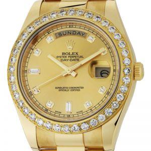 Rolex Day-Date II Yellow Gold Diamond Bezel Diamond Hour Markers 218348