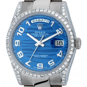 Rolex Day-Date White Gold Diamond Bezel Blue Wave Dial 118239