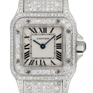 Cartier Santos Galbèe Small Custom Diamond Set W20017D6