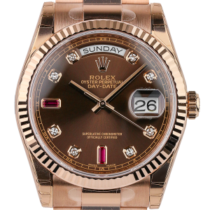 Rolex Day-Date 36mm Rose Gold Chocolate/Diamond President 118235