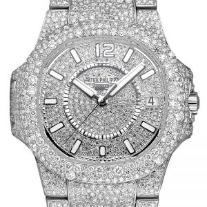 Custom Diamond Set Patek Philippe Ladies Nautilus 7011/1G-001 White Gold Watch