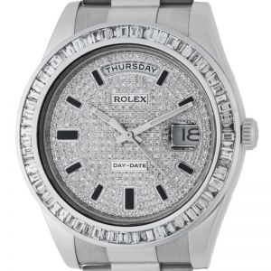 Rolex Day-Date President White Gold Diamond Bezel PavE Dial 218239