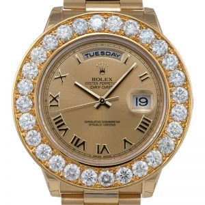 Rolex Day-Date II President Yellow Gold Round Brilliant Diamonds 218238