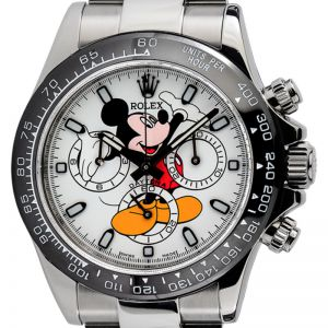 Rolex Daytona Steel White Mickey Mouse Dial Black Ceramic Bezel Custom Watch 116520