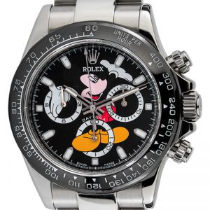 Rolex Daytona Steel Black Mickey Mouse Dial Black Ceramic Bezel Custom Watch 116520