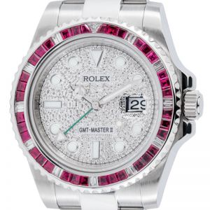 Rolex GMT-Master II Stainless Steel Red Ruby Bezel Diamond PavE Dial 116710LN