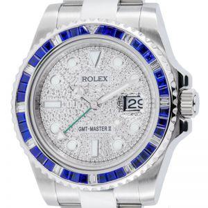 Rolex GMT-Master II Steel Sapphire Bezel PavE Dial 116710LN