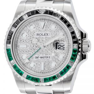 Rolex GMT-Master II Steel Black/Green Bezel PavE Dial