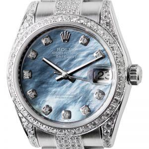 Rolex DateJust 31mm Steel Mother Of Pearl Diamond Set Custom Watch 178240