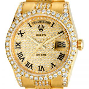 Rolex Day-Date President Yellow Gold Diamond Set PavE Dial 118238