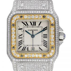 Cartier Santos Galbèe Medium Steel and Gold Custom Diamond Set W20011C4