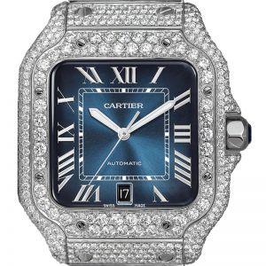 Cartier Santos WSSA0030 Custom Diamond Set Blue Dial