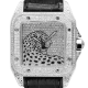 Cartier Santos 100 L Panthère Diamond Set Custom Watch Black Leather Strap W20073X8