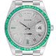 Rolex Day-Date 40 18ct White Gold Custom Diamond Paved Dial Custom Green Bezel 228239