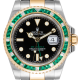 Rolex GMT-Master II Steel and Yellow Gold with custom Green Emerald bezel 116713LN