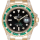 Rolex GMT-Master II 18ct Yellow Gold Diamond Set with Custom Green Emerald Bezel 116718LN