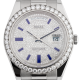 Rolex Day-Date 41 White Gold Diamond-Paved Blue Enamel Hour Markers President 218349