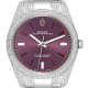 Custom Diamond Set Rolex Oyster Perpetual 39 Stainless Steel Red Grape 114300
