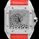 Cartier Santos 100 L Panthère Diamond Set Custom Watch Red Leather Strap W20073X8