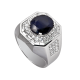 Time4Diamonds Mens White Gold Ring with Blue Center Stone
