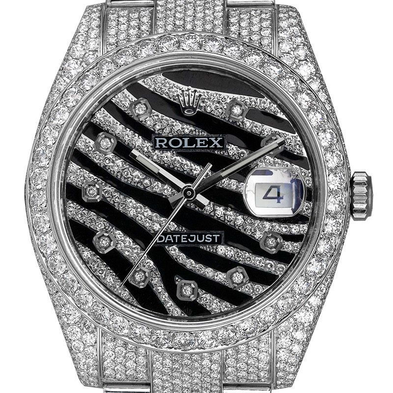Rolex Datejust 41 Custom Diamond Set Diamond Zebra Dial 116300