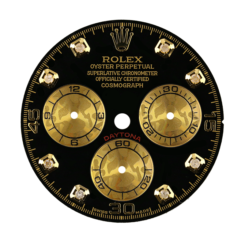 Rolex Daytona Black/Gold Diamond Hour Markers Custom Dial