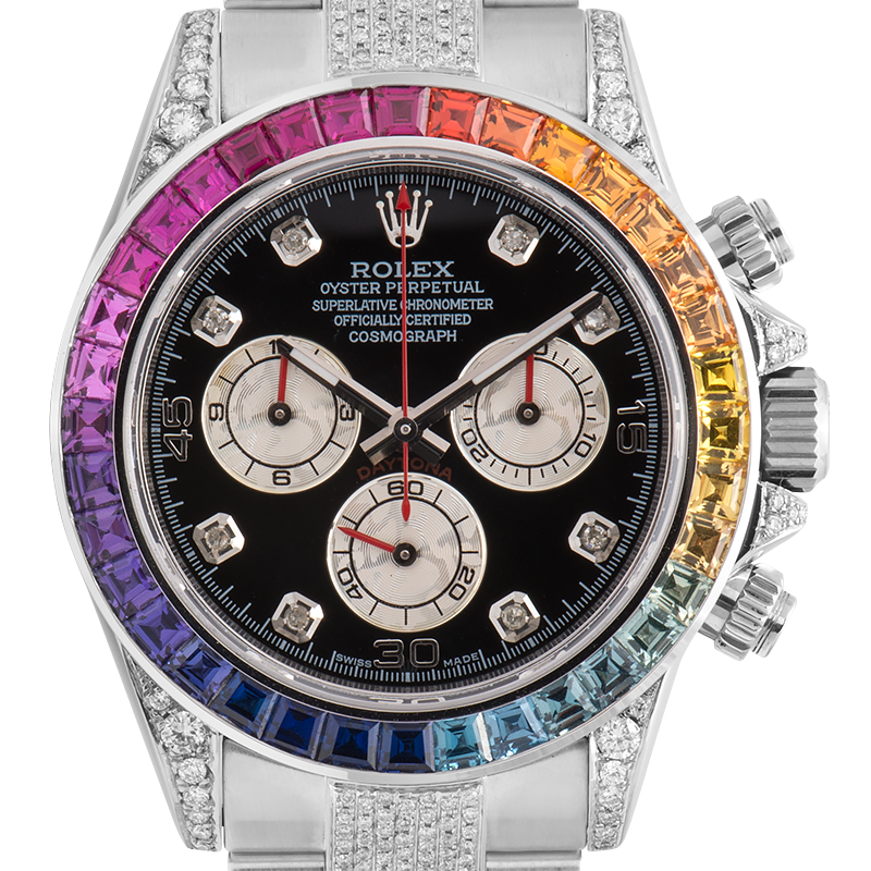 Rolex Cosmograph Daytona in Steel Diamond Set with Rainbow Diamond Bezel 116520