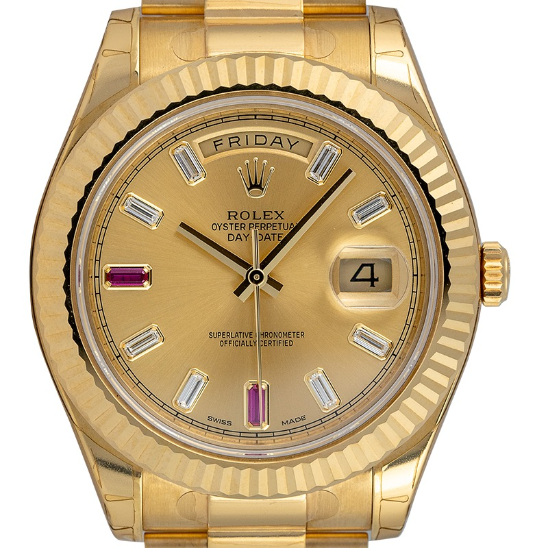 Rolex Day-Date 41 18ct Yellow Gold Champagne/Diamond Dial 218238