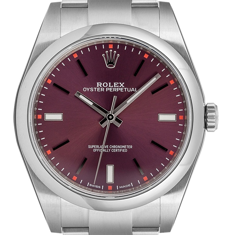 Rolex Oyster Perpetual 39 Steel Red Grape Dial Steel 114300
