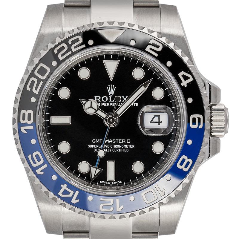 Rolex GMT-Master II Stainless Steel Black Dial Black/Blue Bezel (Batman) 116710BLNR