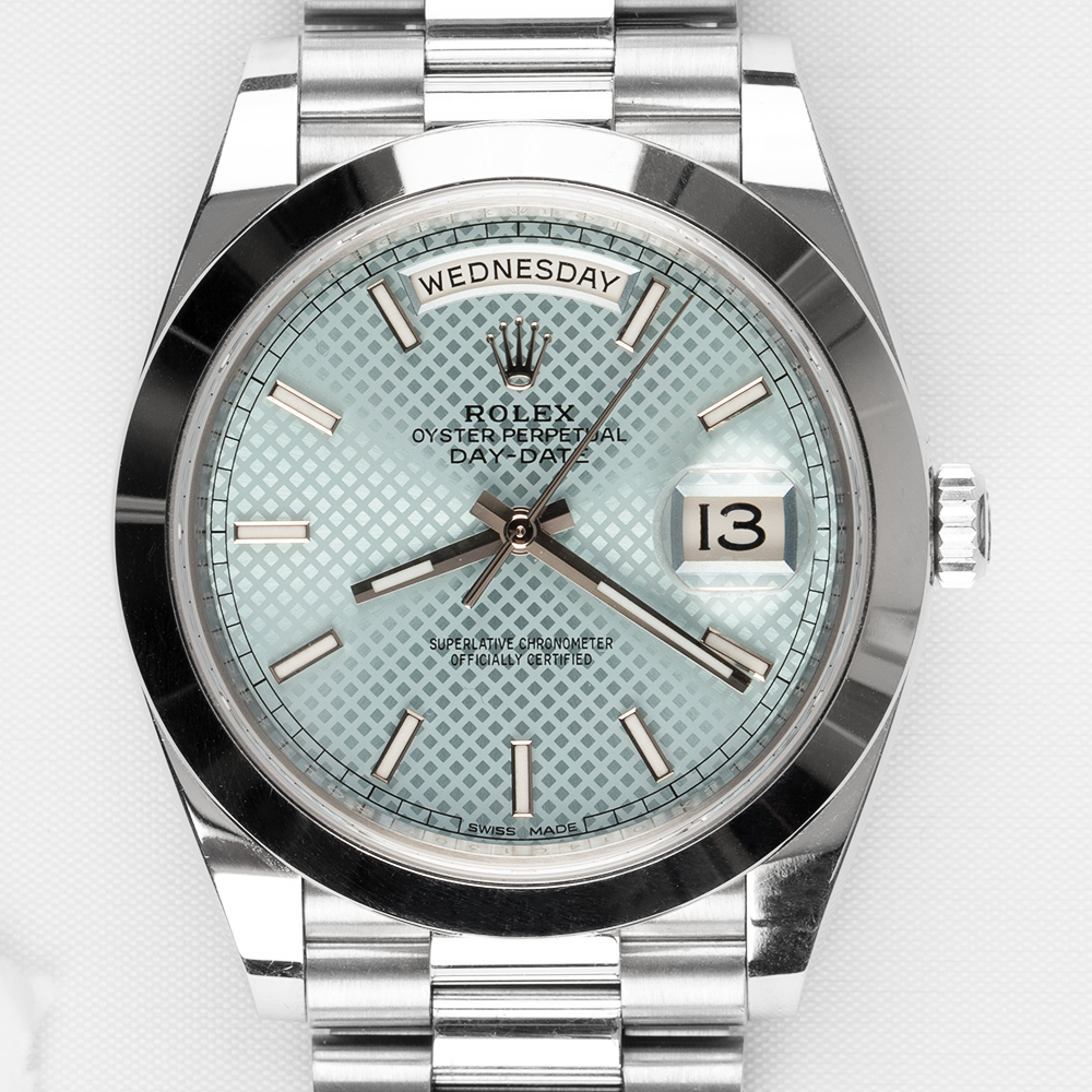 Rolex 228206 Day-Date Platinum White Gold Ice Blue Dial