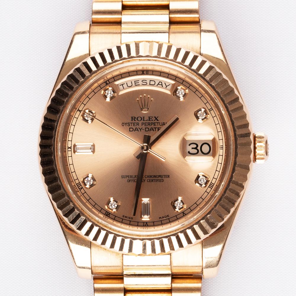 Rolex 218235 Day-Date II Full Rose Gold Champagne Diamond Dial