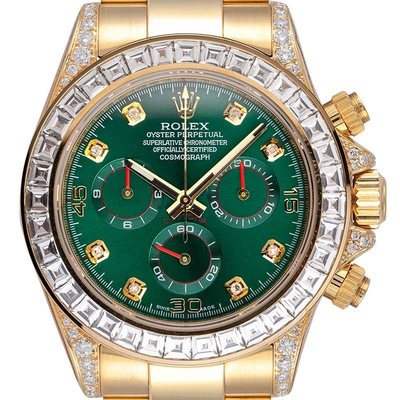 Custom Diamond Set Rolex Daytona 116508 Yellow Gold Custom Green Dial