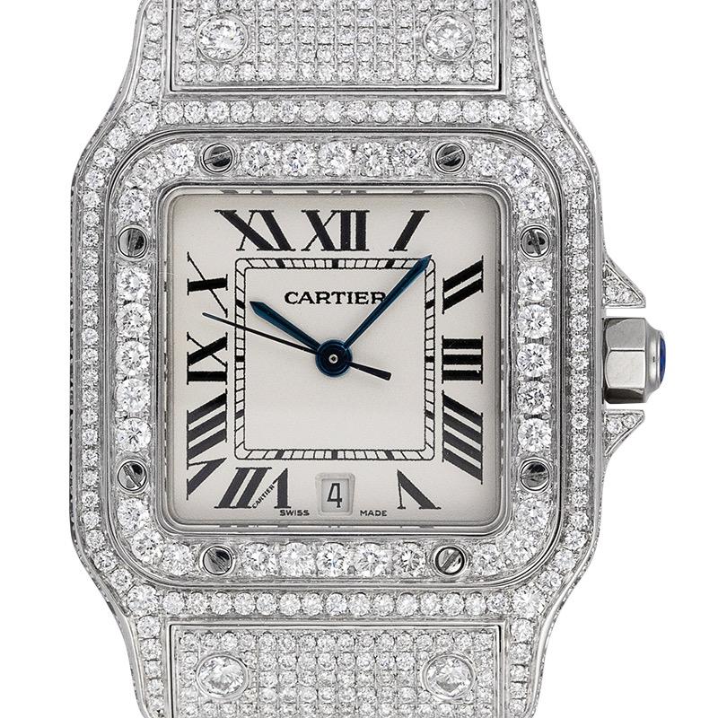 Cartier Santos Galbèe Medium Custom Diamond Set W20018D6