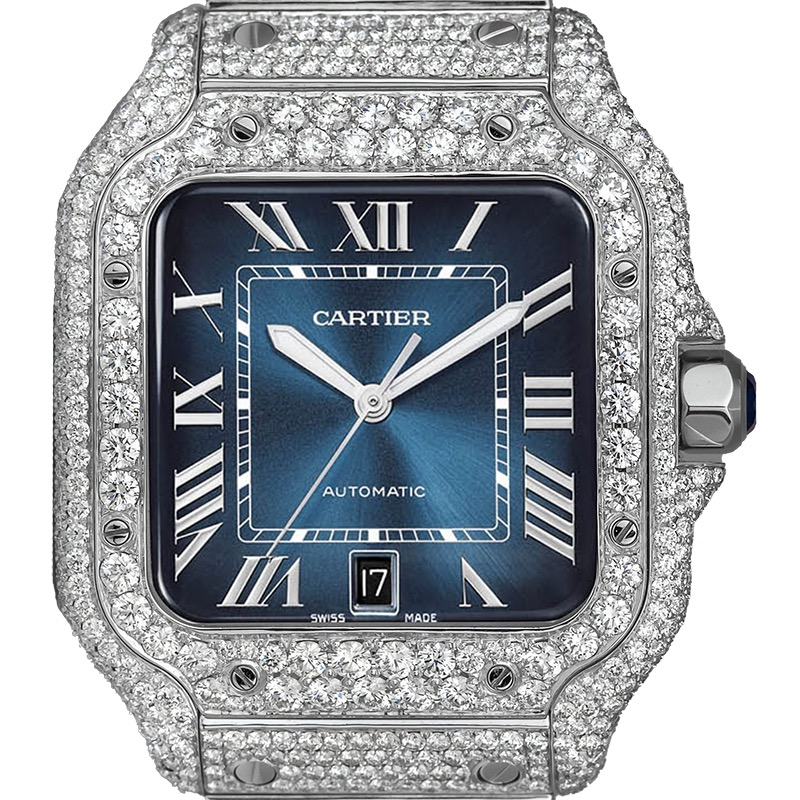 Cartier Santos WSSA0030 Custom Diamond Set Blue Dial