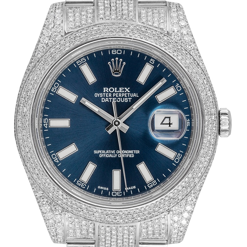 Rolex Datejust 41 Custom Diamond Set with Blue Dial 126300