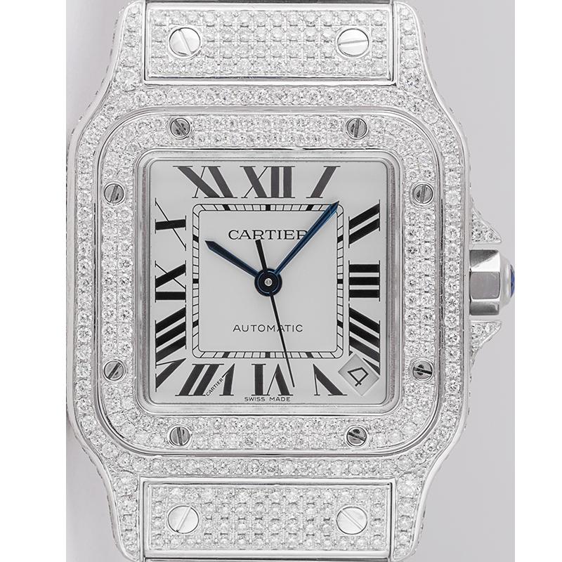 Cartier Santos Galbee Custom Diamond Set W20098DX