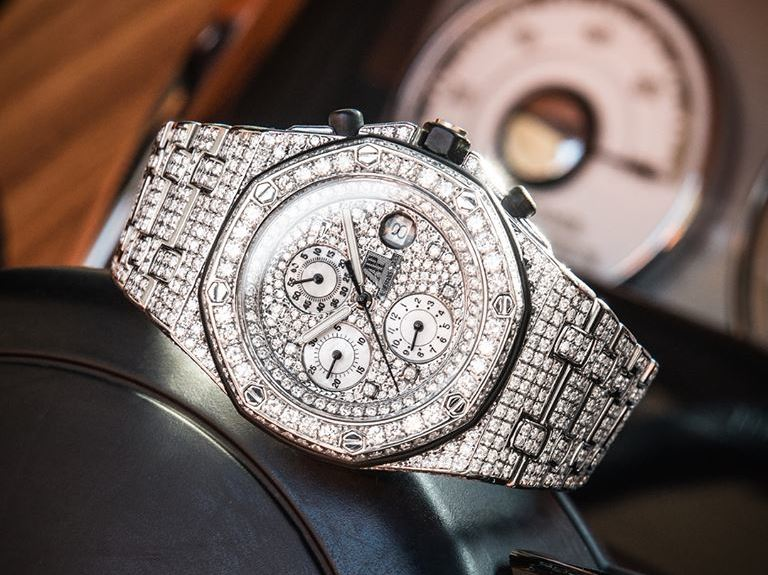 Audemars Piguet Royal Oak Offshore entirely diamond set by Time4Diamonds' in-house specialists