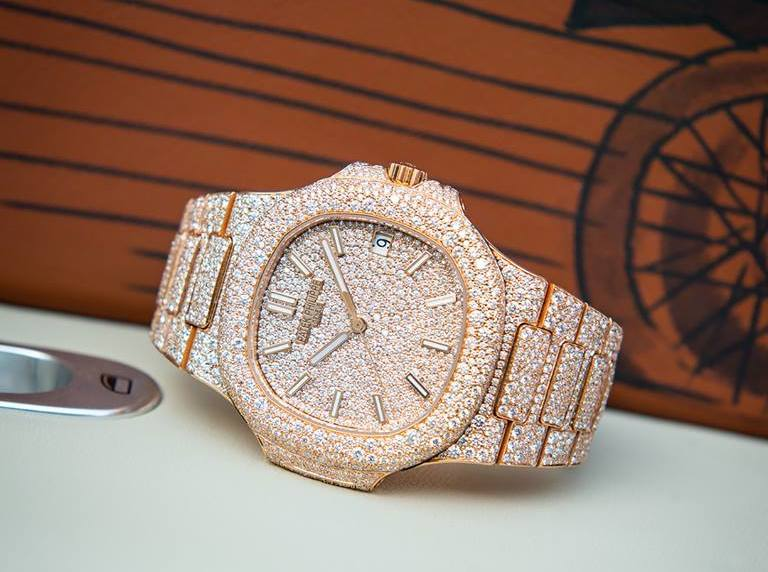 Custom diamond pave Patek Philippe Nautilus