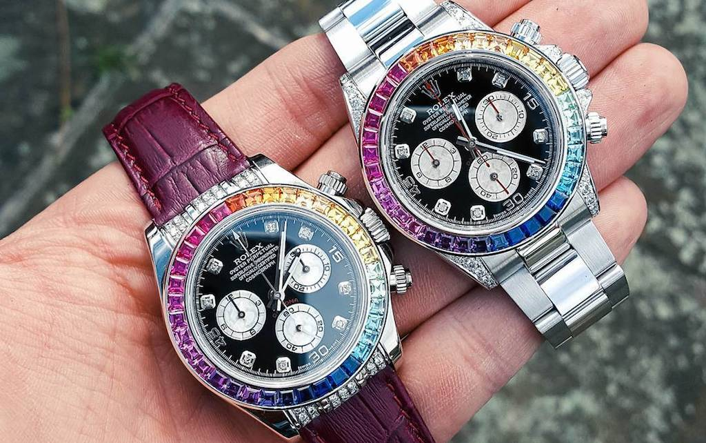You can even add a leather strap to your custom Rainbow Rolex