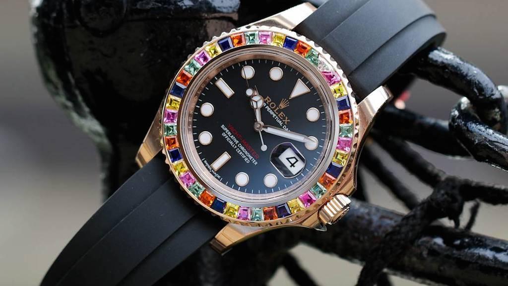 Custom Rainbow Rolex Yacht-Master by Time4Diamonds
